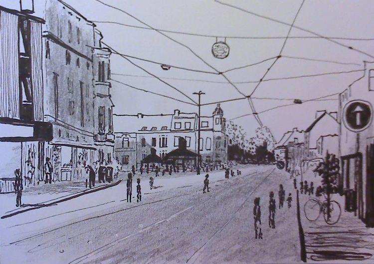 Stadt bremen einkaufsstrasse, Zeichnungen, Skizzenbuch