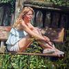 Sonne, Garten, Frau, Portrait