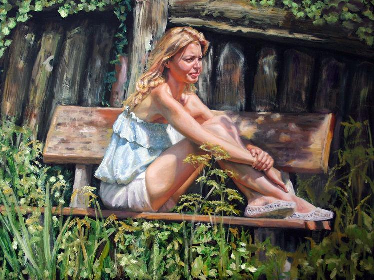 Sonne, Garten, Frau, Portrait, Mädchen, Malerei