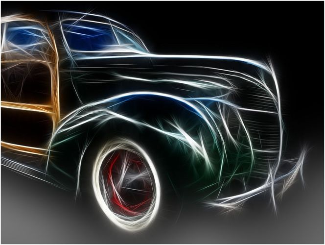 Auto, Oldtimer, Filter, Digitale kunst, Ford,