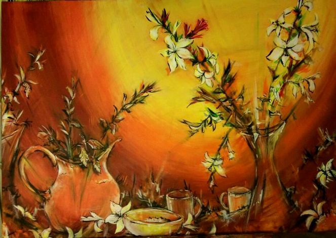 Acrylmalerei, Stillleben, Blumen, Krug, Häferl, Malerei