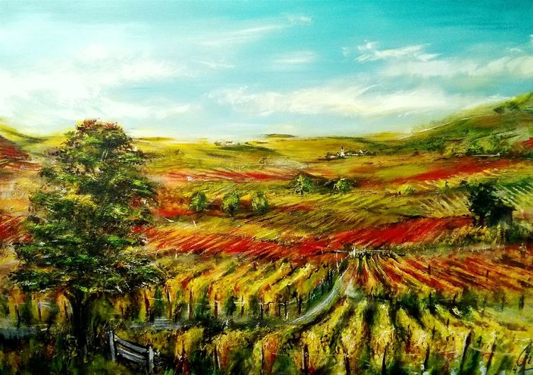 Herbst, Landschaft, Blätter, Weinberg, Wein, Coloured leaves