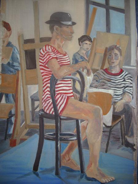 Badeanzug, Modell, Ölmalerei, Hut, Malerei, Menschen