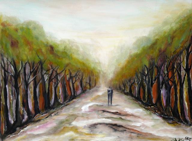 Wald, Braun, Baum, Wetter, Allee, Acrylmalerei