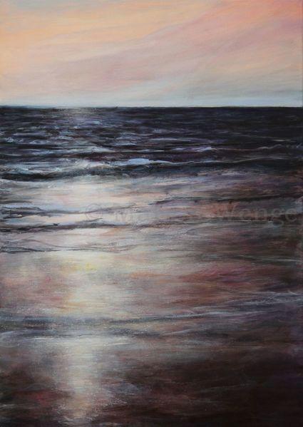 Stimmung, Meer, Sonne, Küste, Acrylmalerei, Malerei