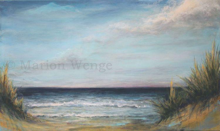 Dünen, Sand, Wasser, Brandung, Wolken, Acrylmalerei