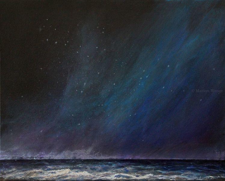 Nacht, Himmel, Wasser, Meer, Malerei