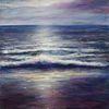 Küste, Brandung, Malerei, Sonne