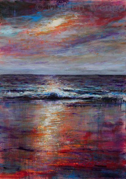 Meer, Malerei, Landschaftsmalerei, Sonnenuntergang, Wasser, Stimmung