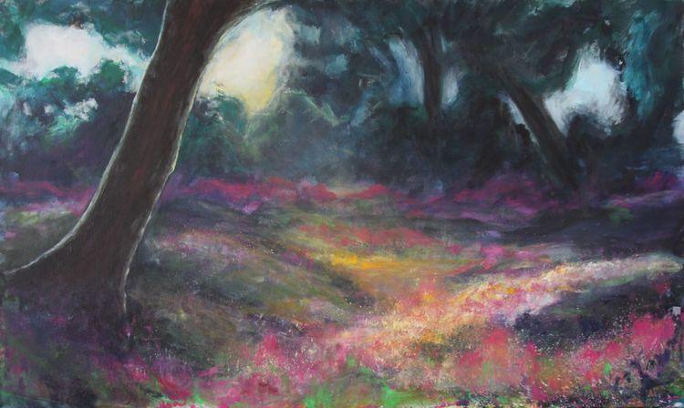 Wald, Licht, Landschaft, Malerei