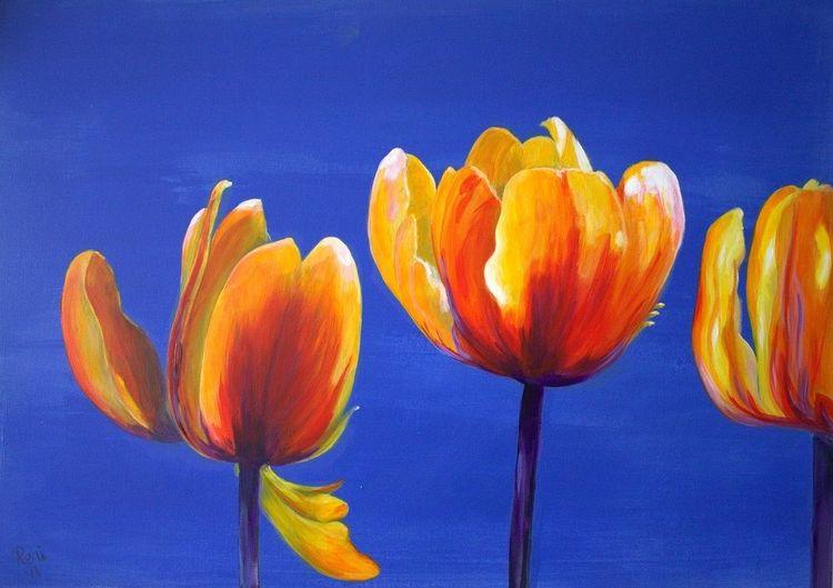Acrylmalerei, Gelb, Blüte, Blumen, Blau, Frühling
