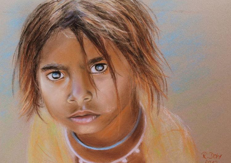 Indien, Kinderportrait, Pastellmalerei, Portrait, Kind, Mädchen