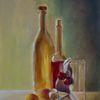 Ölmalerei, Flasche, Stillleben, Kirsche