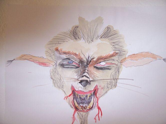 Kaffee, Tusche, Bleistiftzeichnung, Teufel, Malerei, Abstrakt