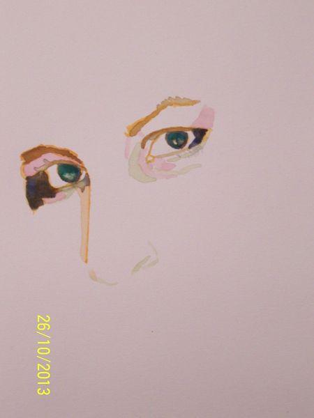 Portrait, Frau, Farben, Augen, Menschen, Aquarellmalerei