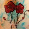 Blüte, Zeichnuung, Mohn, Experimentell