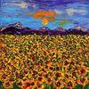 Spachteltechnik, Sonne, Sonnenblumen, Feld
