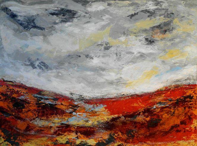 Landschaft, Grau, Feuer, Struktur, Pastellmalerei, Abstrakt