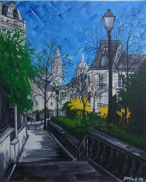 Frühling, Acrylmalerei, Paris, Stadt, Malerei, Architektur