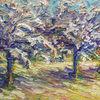 Apfelbäume, Gemälde, Licht, Blüte