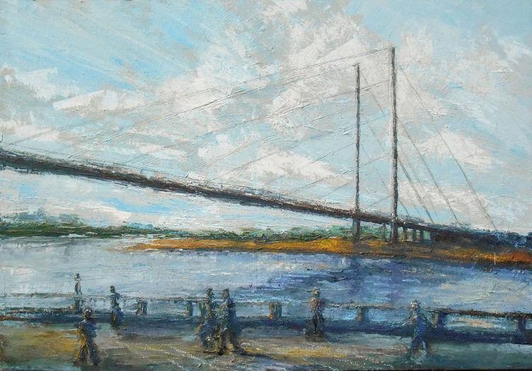 Düsseldorf, Rhein, Acrylmalerei, Brücke, Gemälde, Malerei