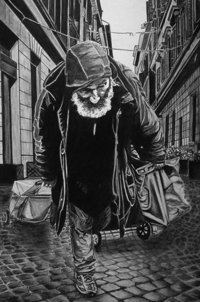 Armut, Grau, Alter, Abseits, Mischtechnik