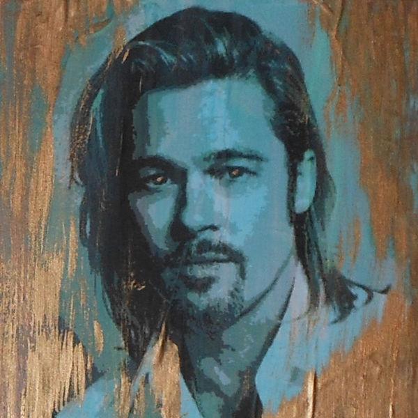 Kupfer, Portrait, Malerei, Brad pitt, Patina, Mischtechnik