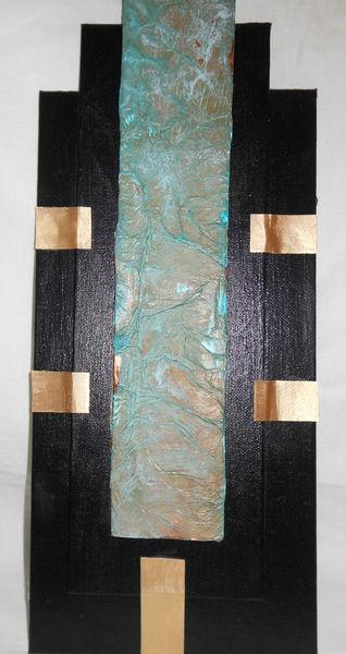 Kupfer, Patina, Collage, Acrylmalerei, Mischtechnik
