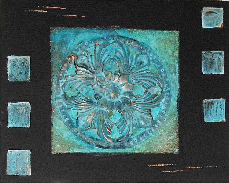 Kupfer, Collage, Rosette, Patina, Mischtechnik