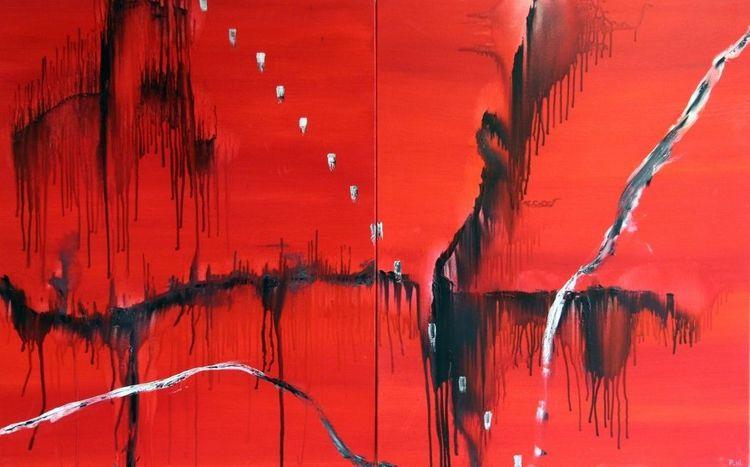 Fluss, Struktur, Rot, Abstrakt, Malerei