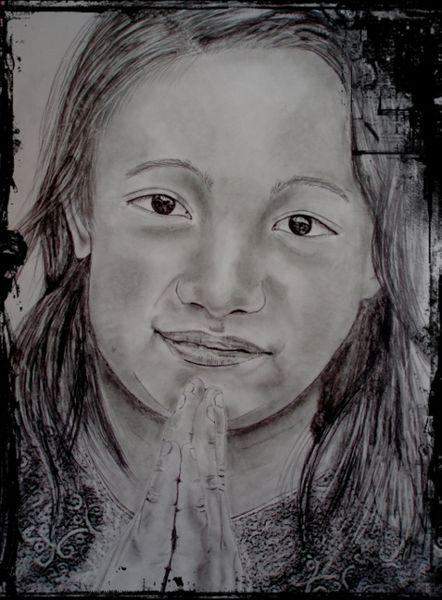 Hände falten gesicht, Zeichnungen