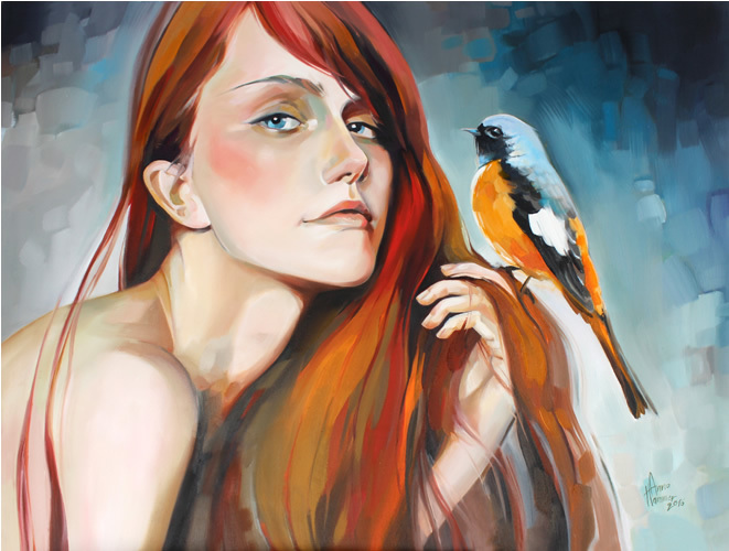 Tiere, Portrait, Frau, Märchen, Malerei