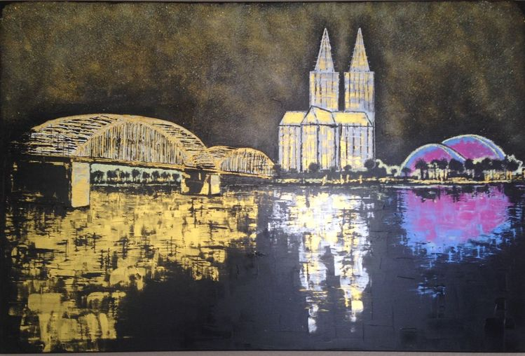 Gebäude, Wasser, Köln, Stadt, Malerei