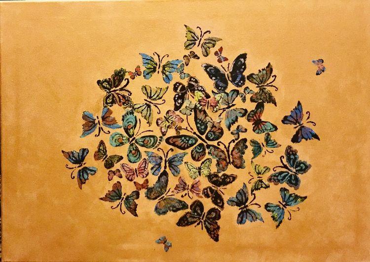 Bunt, Schwarm, Schmetterling, Malerei