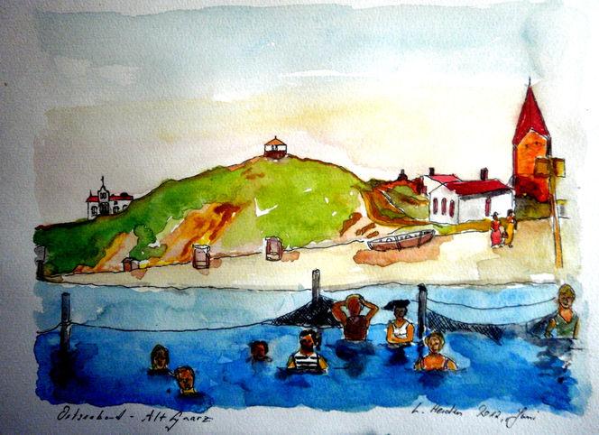 Rerik, See, Natur, Boot, Aquarellmalerei, Malerei