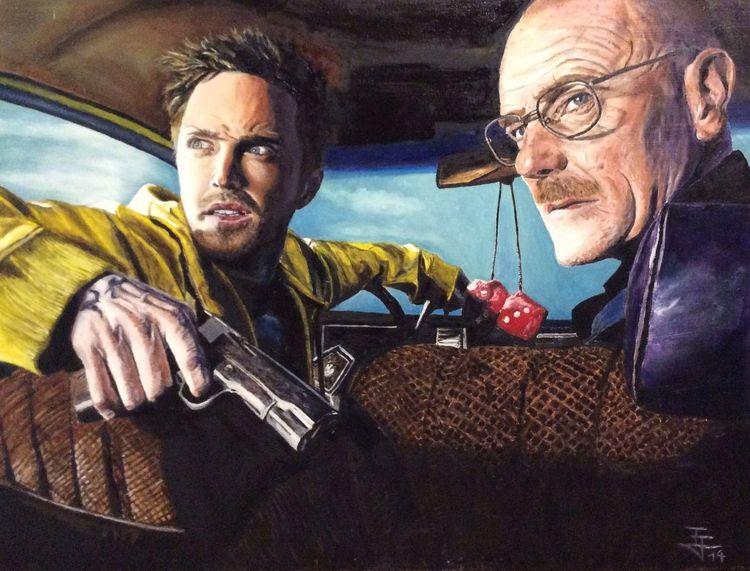 Fanart, Auto, Ölmalerei, Jessy pinkman, Breaking bad, Walter white