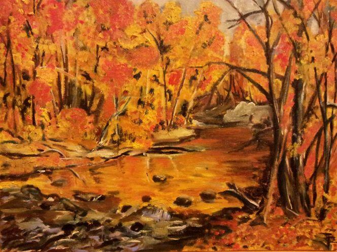 Farben, Ölmalerei, Laub, Herbst, Bach, Baum
