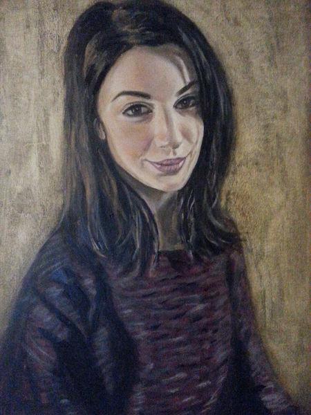Gesicht, Portrait, Ölmalerei, Pullover, Gemälde, Violett
