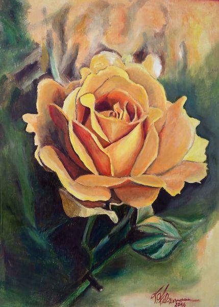 Ölmalerei, Gelbe rose, Gemälde, Muttertag, Rose, Malerei