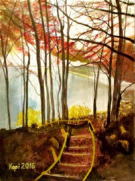 Wasser, Landschaft, See, Herbst, Treppe, Aquarell