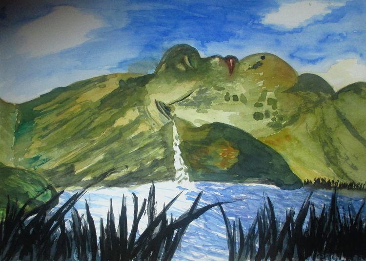 Landschaft, See, Berge, Aquarellmalerei, Aquarell, Mutter