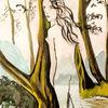Akt, Wasser, Flusslandschaft, Aquarell