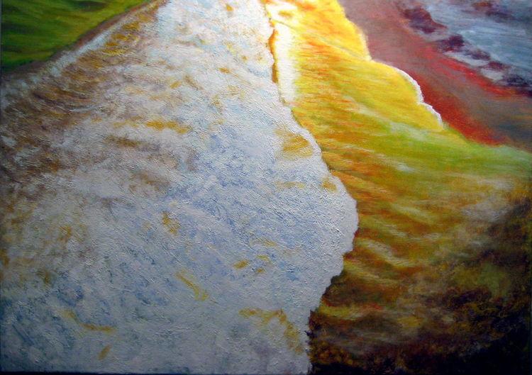 Welle, Landschaftsmalerei, Wellenreiten, Meer, Abendlicht, Cran canaria