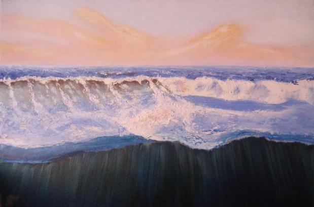 Meer, Welle, Küste, Ölfarben, Dämmerung, Malerei