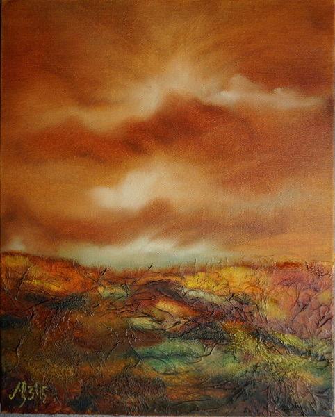 Herbst, Herbstlicht, Toskana, Abstrakt, Seidenpapier, Mischtechnik