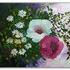 Mohnblüten, Rot, Gänseblümchen, Ölmalerei