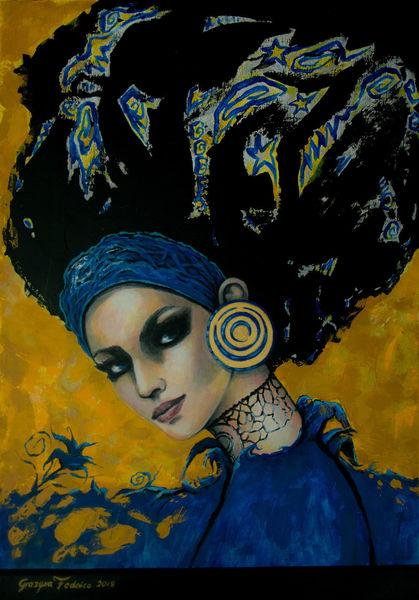 Gesicht, Acrylmalerei, Portrait, Blick, Malerei, Blau