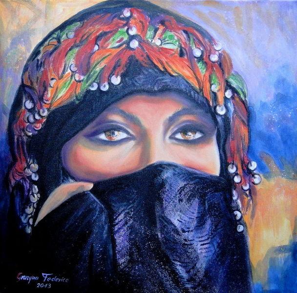 Lila, Rot, Frauen marokkos, Schleier, Orange, Acrylmalerei