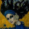 Gesicht, Acrylmalerei, Portrait, Blau