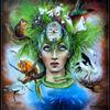 Acrylmalerei, Frau, Grün, Gesicht